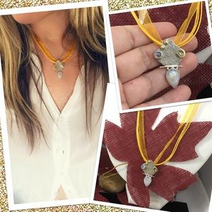 Jewelry - Natural rainbow moonstone two-tone pendant